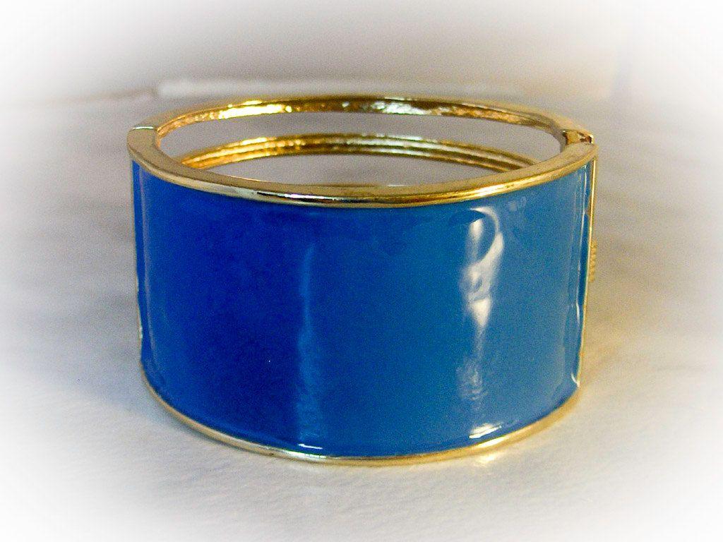 Blue stone Bangle BRACELET; Blue cabochon Cuff Bracelet; Modernist design; Years 7080; Gift for her; Vintage jewelry.