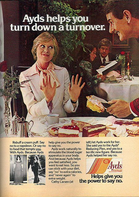 "Ayds Dietary Supplement, ""...helps you turn down a turnover"", 1978"