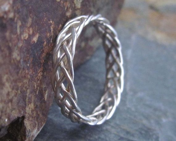 vintage item silver black braided woven rings thai handmade jewelry fine sterling mens wire