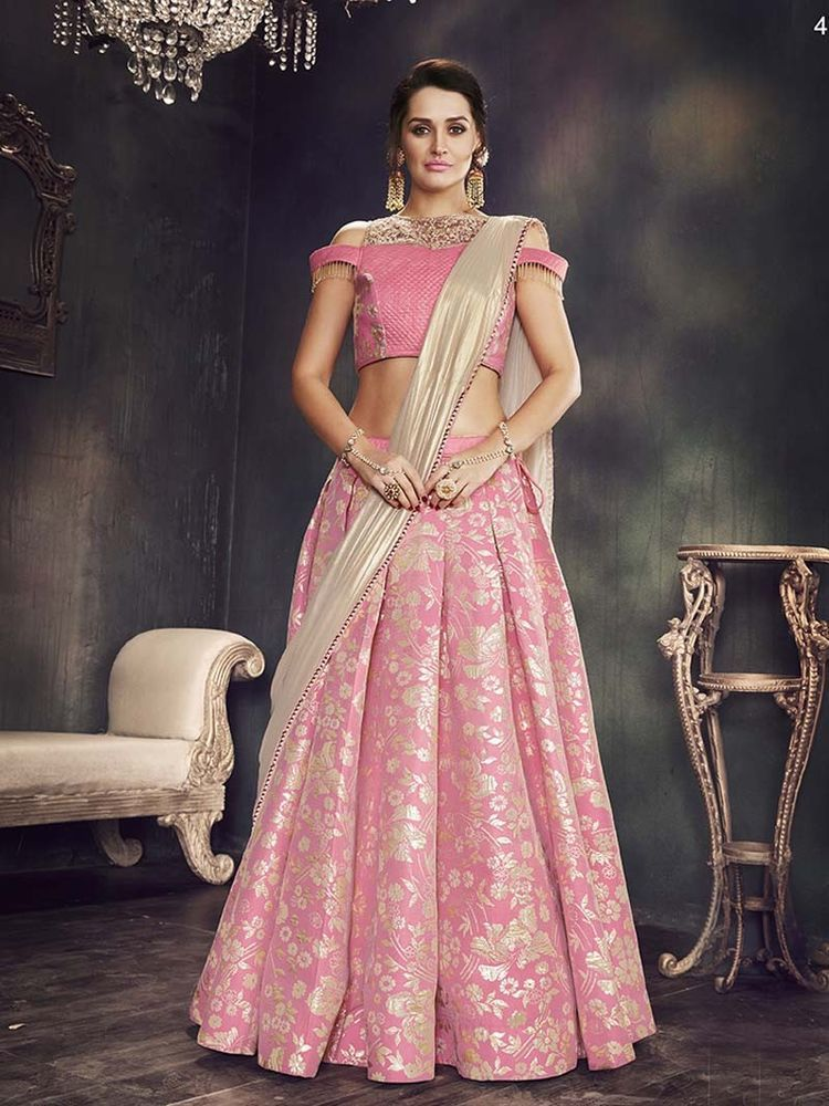 Pink Silk Lehenga Choli Indian Ethnic Wedding Wear Lengha Chunri Lahanga Sari