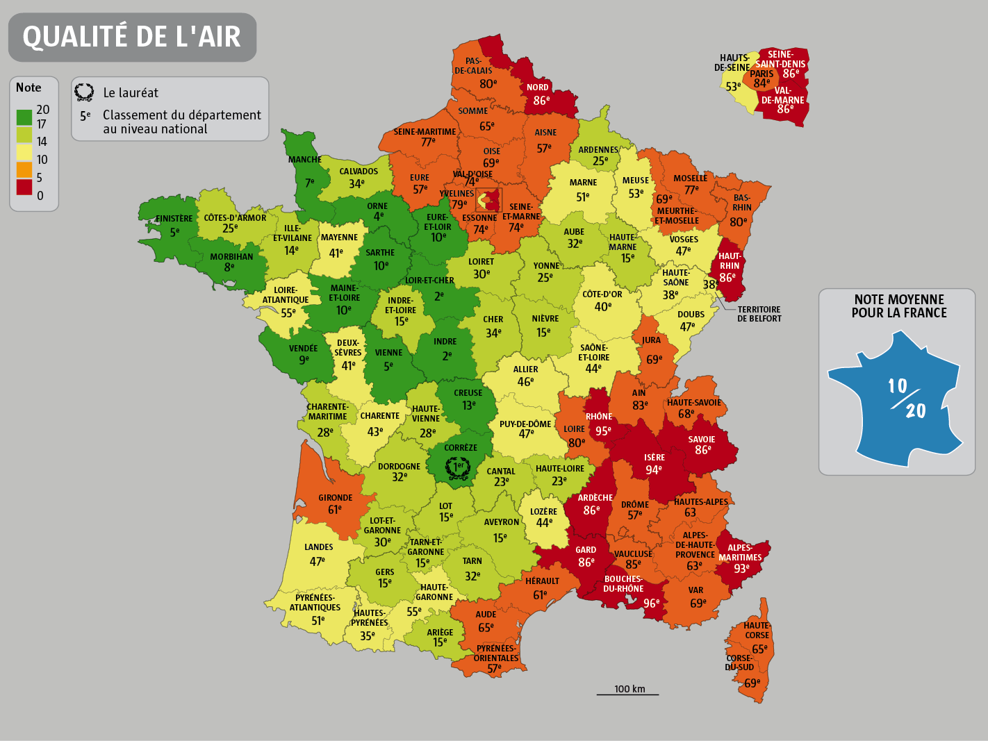 carte de france qualite de l'air