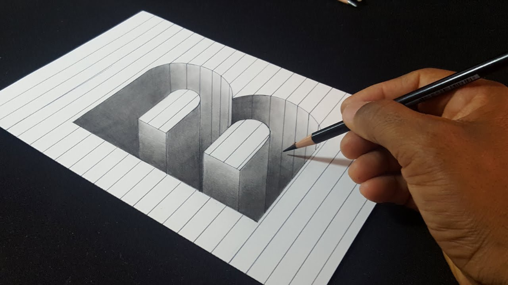 Drawing How To Draw 3d Hole Letter B 3d Drawings 3d Art Drawing Easy Drawings