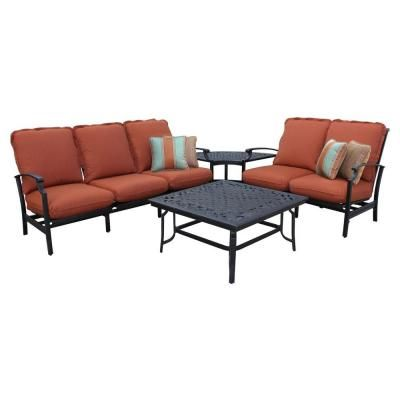 Thomasville Messina 4 Piece Patio Sectional Seating Set With Paprika