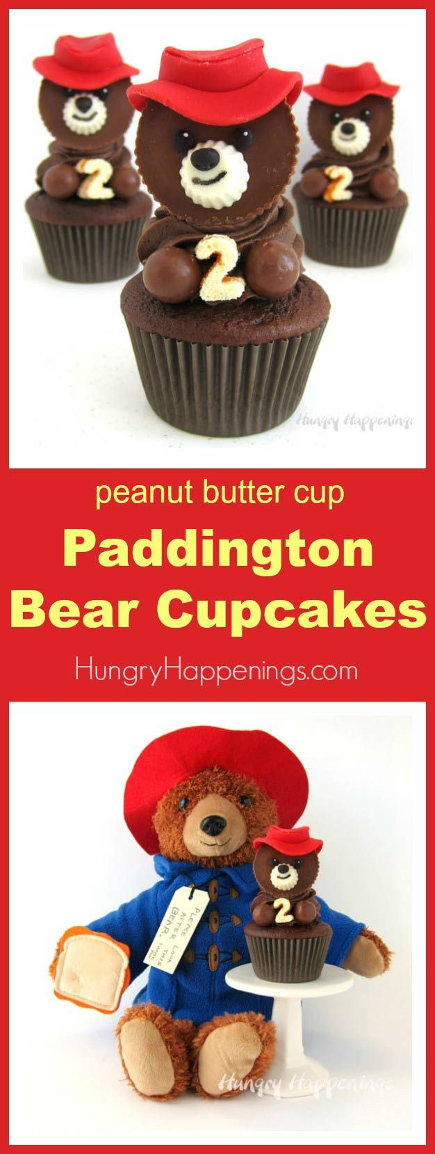 Kids of all ages will fall in love with these Paddington Bear Cupcakes. Each chocolate cupcake, made to celebrate the release of Paddington 2, is topped with a swirl of chocolate frosting and is adorned with a peanut butter cup bear wearing a bright red candy hat. #Paddington2 #ad