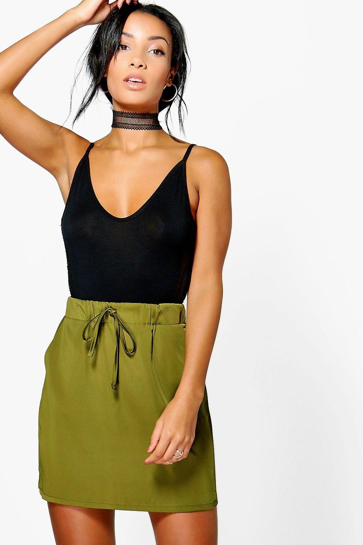 Aurora Satin Draw Cord Waist Utility Skirt = $21