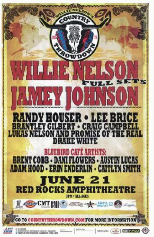 Concert poster for Willie Nelson and Jamey Johnson at Red Rocks in Morrison, CO in 2011. 11 x 17 inches