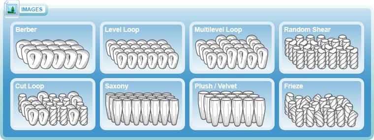 Carpet Styles: Berber, Level Loop, Multilevel Loop, Random Shear, Cut Loop, Saxony, Plush / Velvet and Frieze