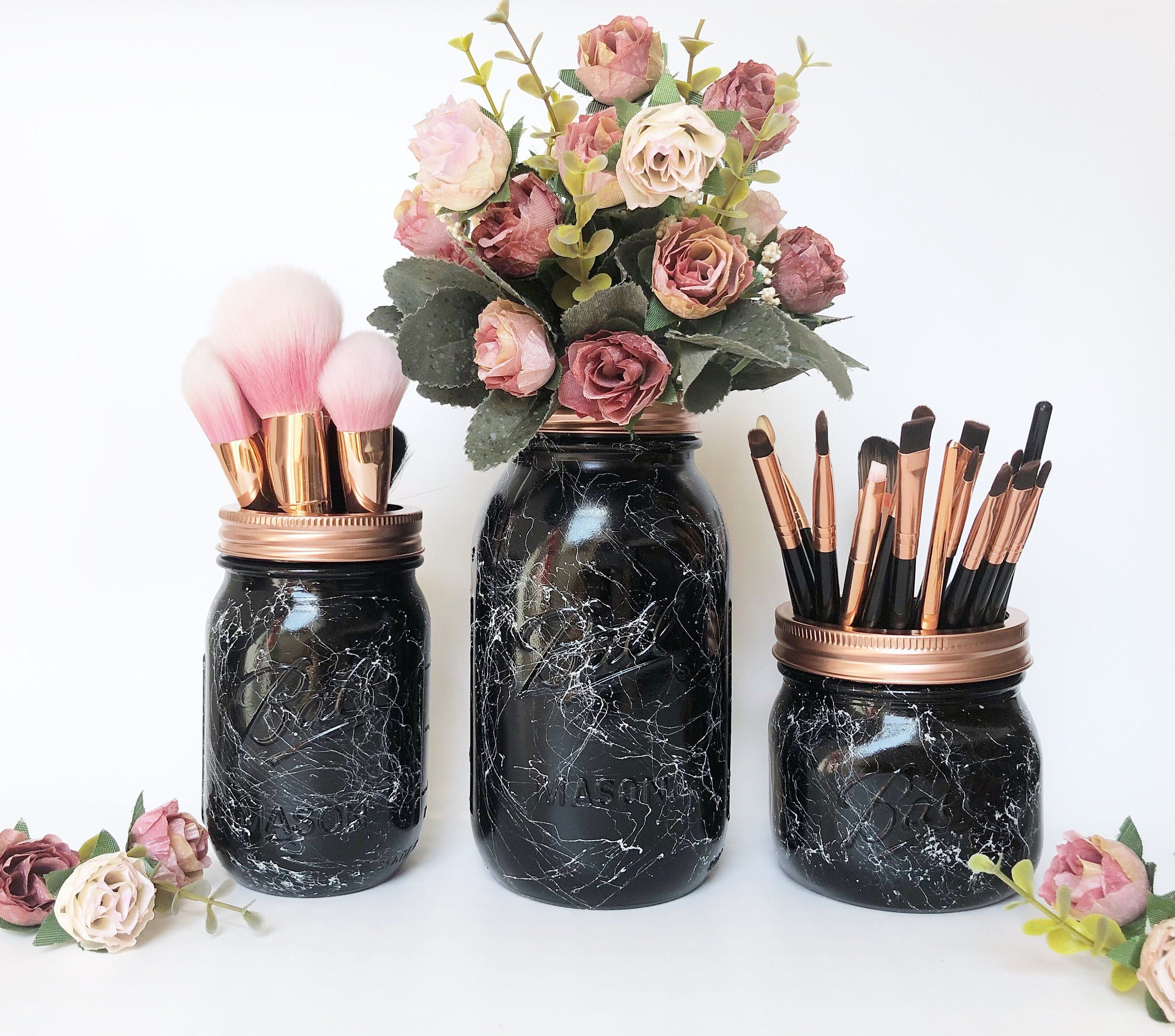 Black and rose gold, marbled decorative jars for my