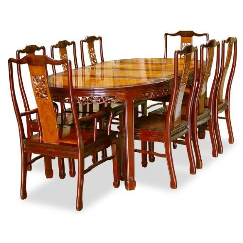 80in Rosewood Oval Dining Table With 8 Chairs Chinese Flower