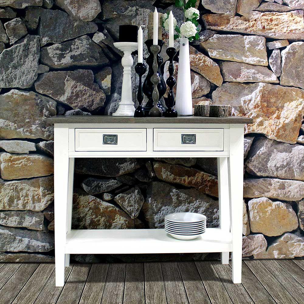 Wohnzimmerwandrahmen flur konsolentisch in weiß und eiche rauchfarben skandinavischen