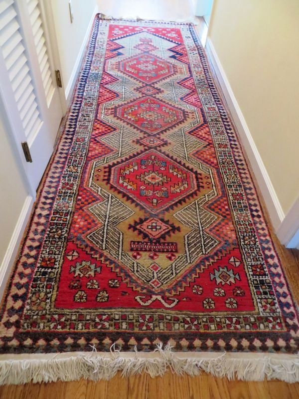 Very Fine Antique Oriental Runner And Small Square Rug