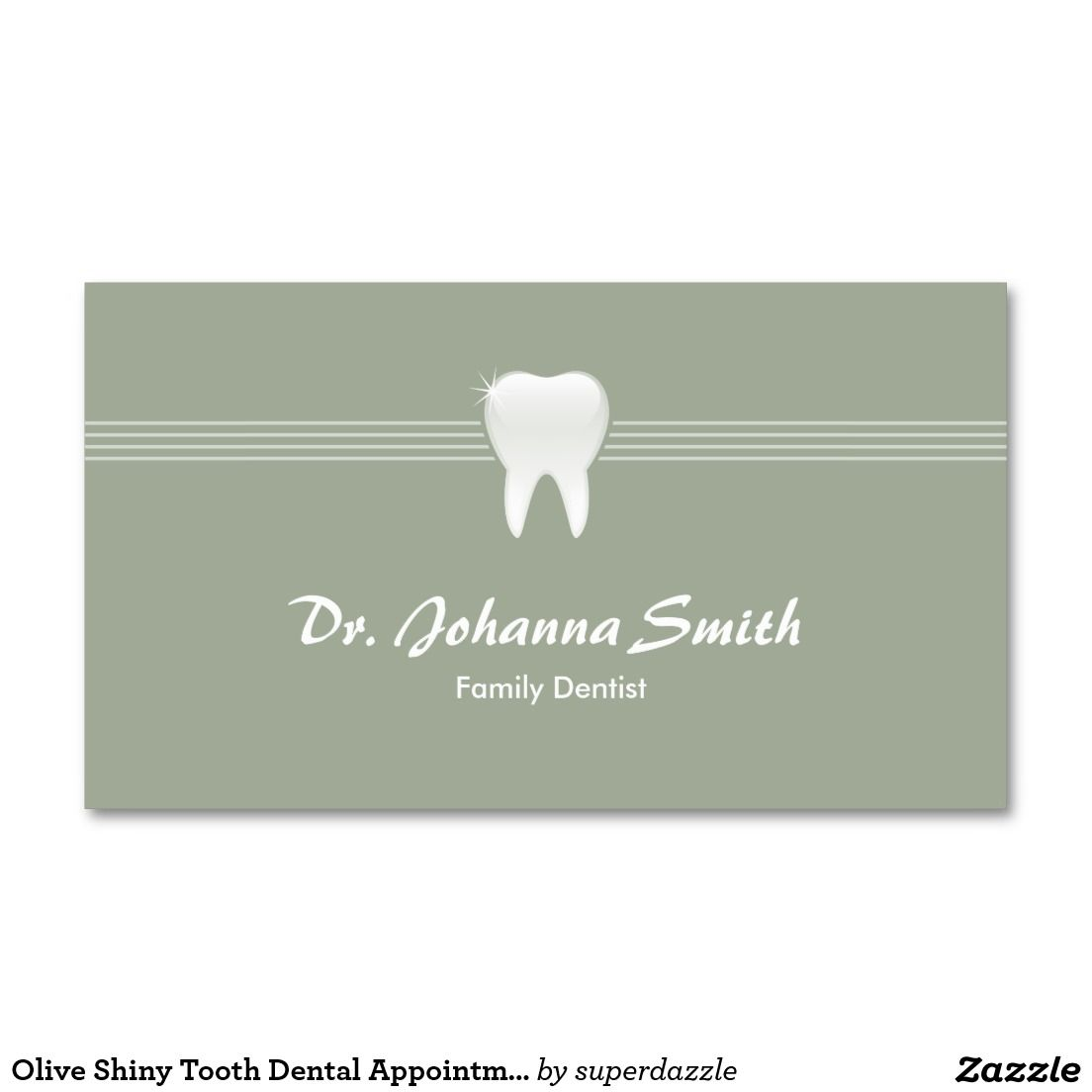 Shiny Tooth Dental Appointment Olive Color Business Card Template - Appointment business card template