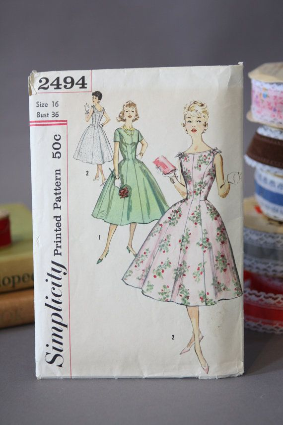 1950s Dress Sewing Pattern Vintage 50s Princess Seam Fit and Flare ...