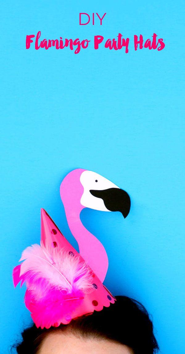 diy flamingo party hats basteln mit kindern pinterest party flamingo party und diy party. Black Bedroom Furniture Sets. Home Design Ideas