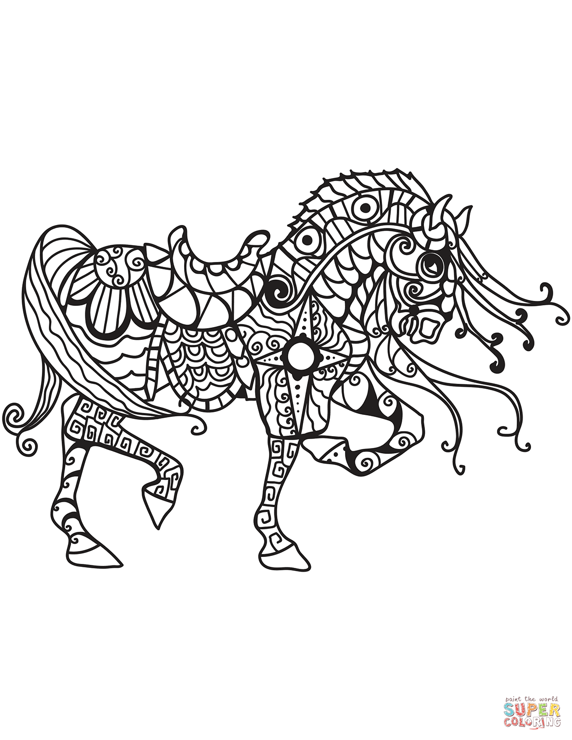 horse zentangle coloring page | free printable coloring