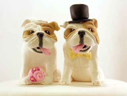 Customized Bulldog Wedding Cake Toppers Handmade In Your Colors And Style