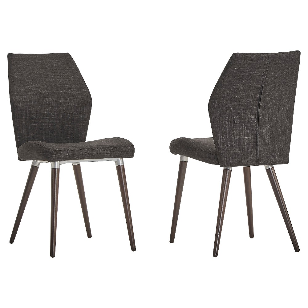 Winona espresso mid century angled chair charcoal in set inspire