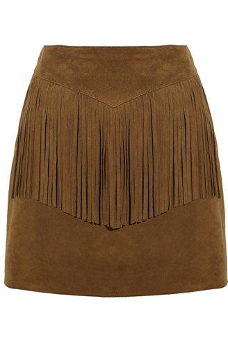 Saint Laurent - Fringe suede mini skirt
