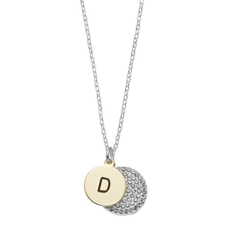 Two tone silver plated crystal initial disc pendant necklace two tone silver plated crystal initial disc pendant necklace womens mozeypictures Gallery