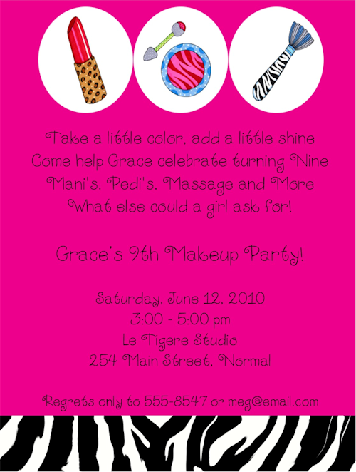 Cosmetic Makeup Birthday Party Invitations I need to figure out – Makeover Party Invitations