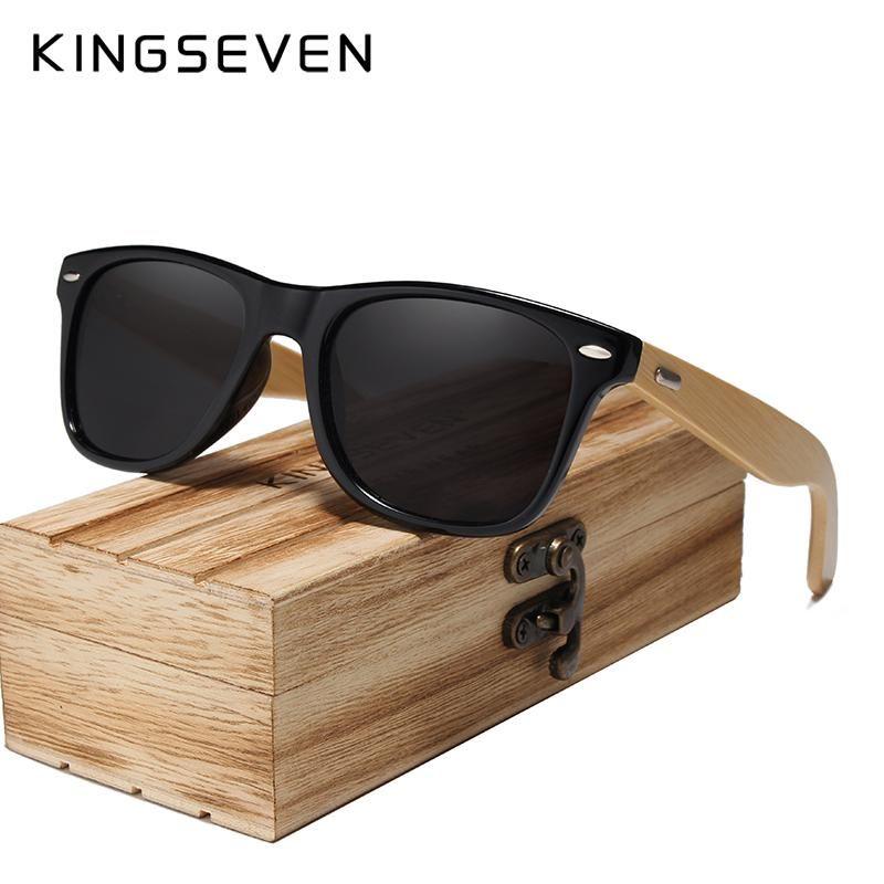 Kingseven 2019 Bamboo Men Women Sunglasses Sun Glasses Polarized