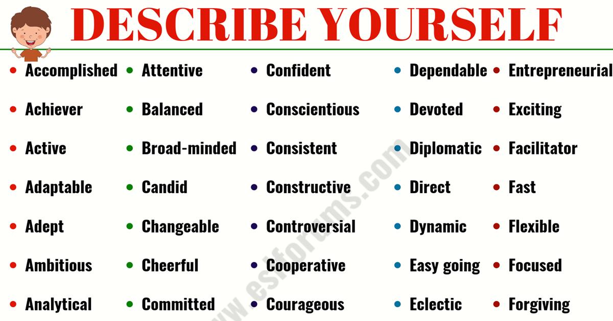 Top 200 Best Words To Describe Yourself Words To Describe