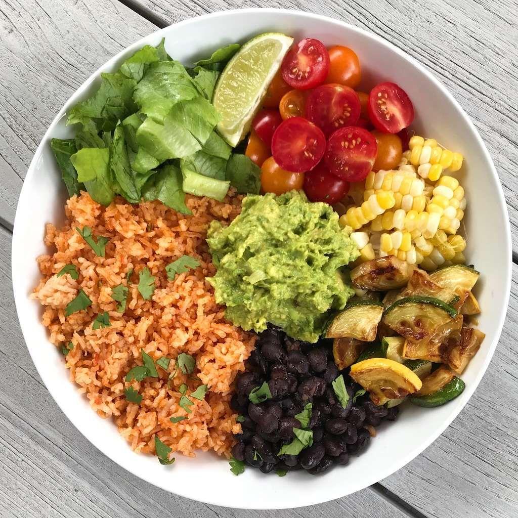 Veggie Burrito Bowl With Mexican Rice Recipe Veggie Burrito Burrito Bowls Recipe Food
