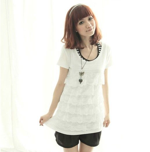 Casual Popular Layered Lace Short Sleeve T-shirt White - $18.16