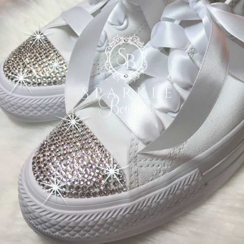 e605d0f4c9a6 Bride Converse - Bling Wedding Shoes - Swarovski - Bedazzled - Chuck Taylor  All Star Converse - All Sizes and Colors - Crystal - Custom by  SparkleBoutique2U ...