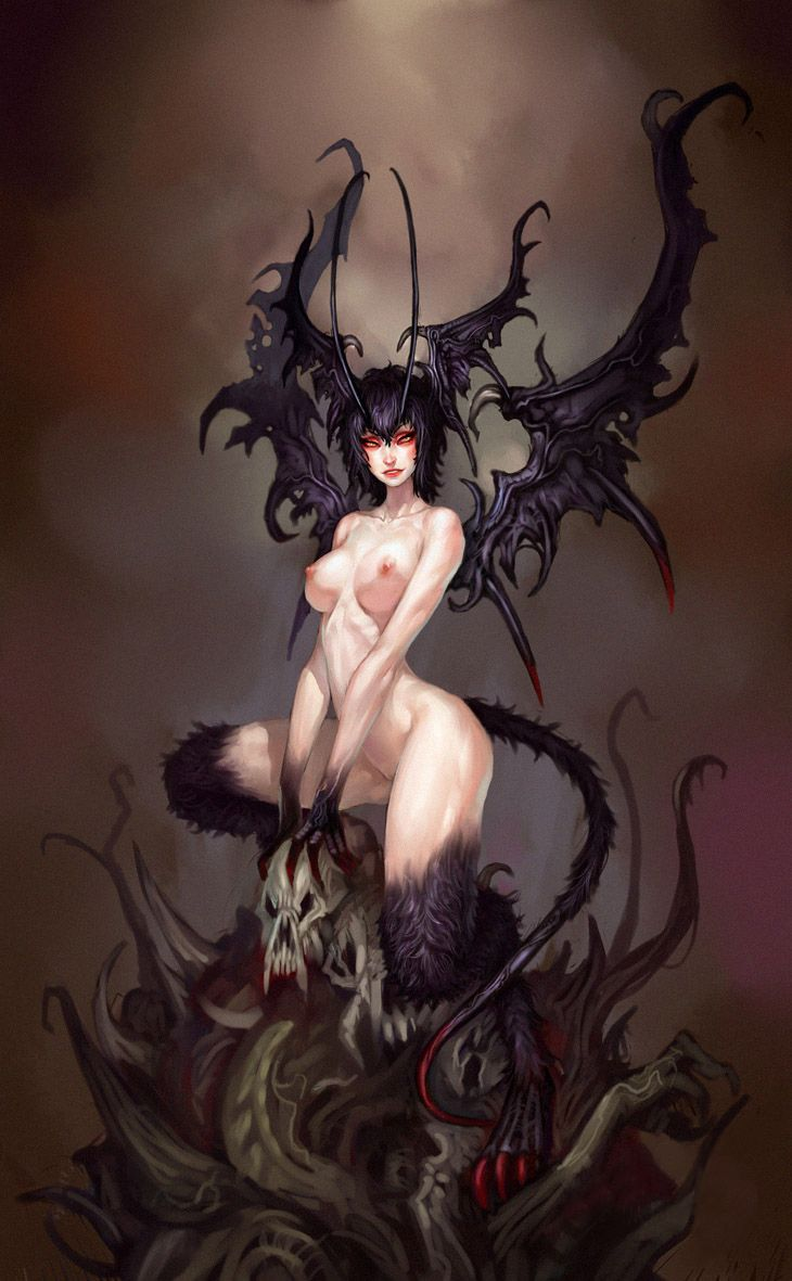 Demon and naked girl art