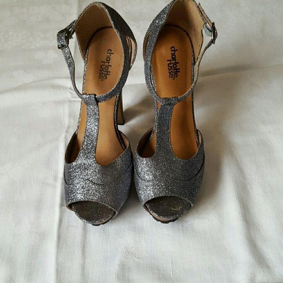 Heels Gray sparkley heels. Worn once. Size 7. 5 in heels. Great condition. Charlotte Russe Shoes Heels