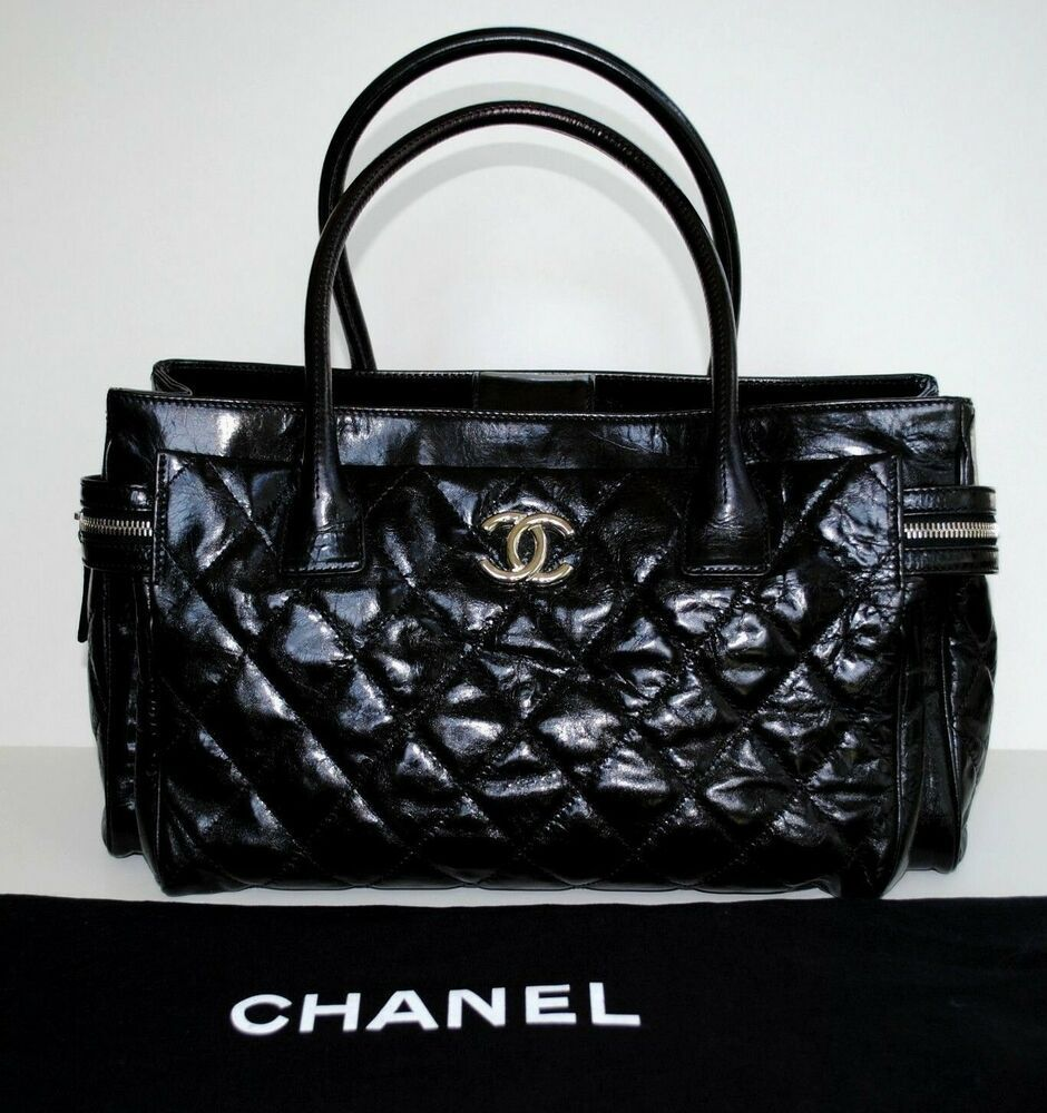 c150d3731e62 Auth CHANEL Black Quilted Leather LARGE Tote Satchel PORTOBELLO Bag Receipt  RARE