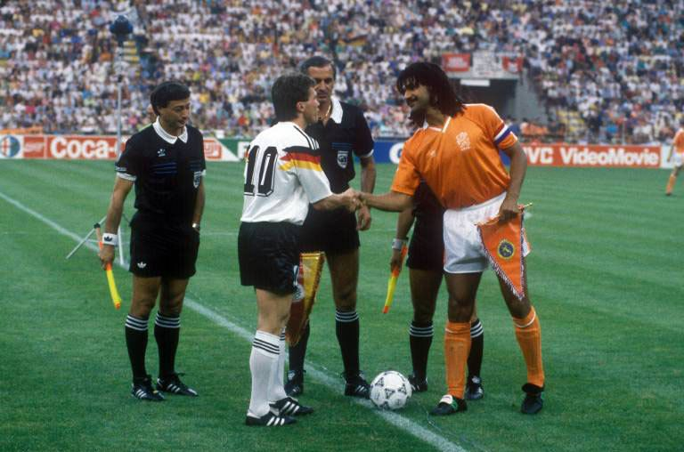 Germany Captain Lothar Matthaus And Netherlands Captain Ruud Gullit Engage In The Pre Match Formalities Ahead Of Their Round Of 1 Kids Soccer World Cup Captain