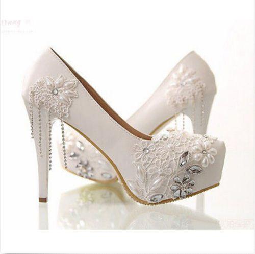 White Satin Rhinestone Decor Pump Heels | Heels, White high heels, Pumps heels