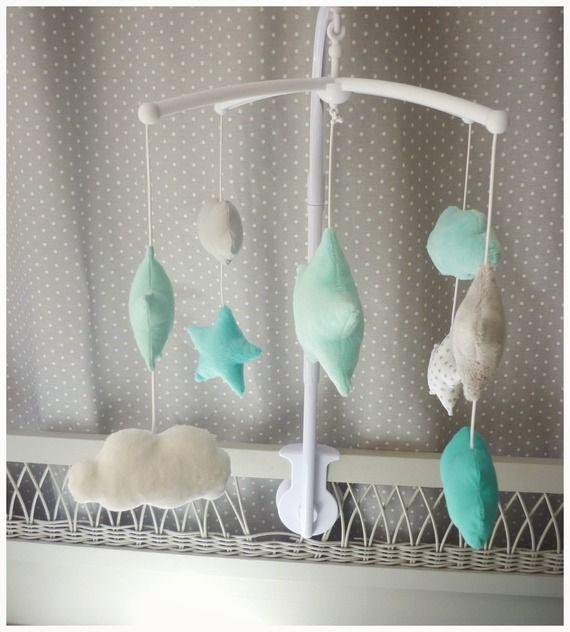 Mobile musical étoile et nuage bleu aqua turquoise et gris | chambre ...