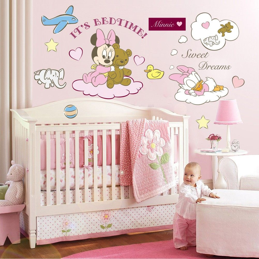Minnie Mouse Bedroom Wallpaper Minnie Mickey Mouse Disney Wall Stickers Pink For Baby Rooms