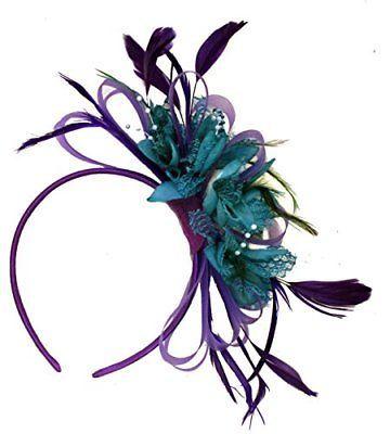 b9b40c6665f3a Cadbury Purple and Teal Net Hoop Feather Hair Fascinator Headband Wedding  Royal