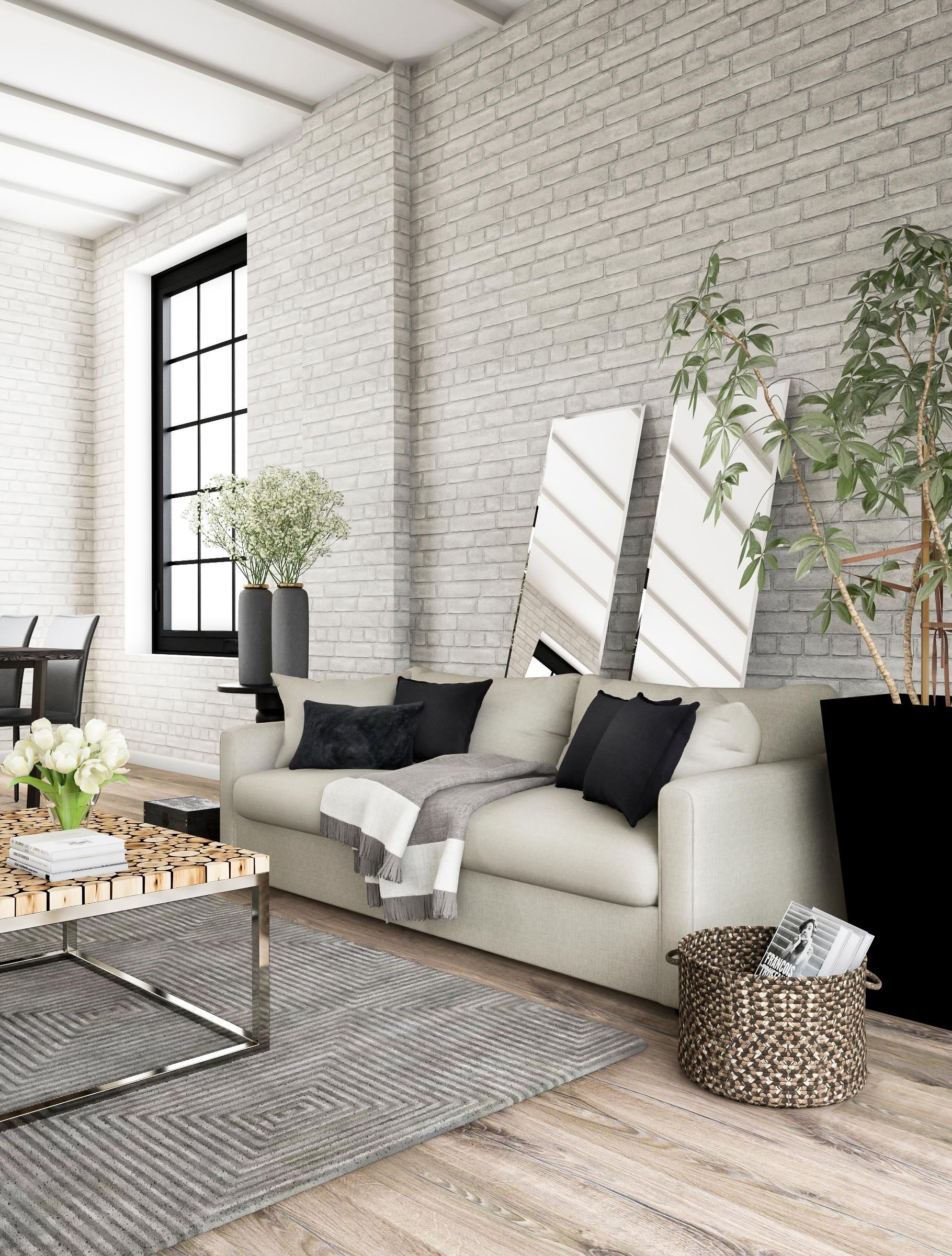 Give Your Living Room An Urban Feel With Ash Gray Walls Plus A One Two Punch On The Floor From An Loft Style Living Room Loft Style Living Trendy Living Rooms #urban #style #living #room