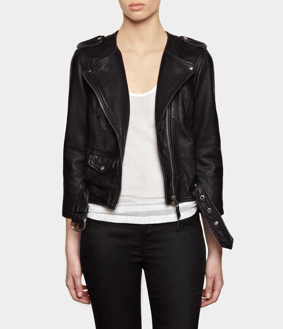 Cropped Riley Leather Jacket Womens Leather Jackets Allsaints Leather Jacket Leather Jackets Women Jackets [ 1045 x 900 Pixel ]