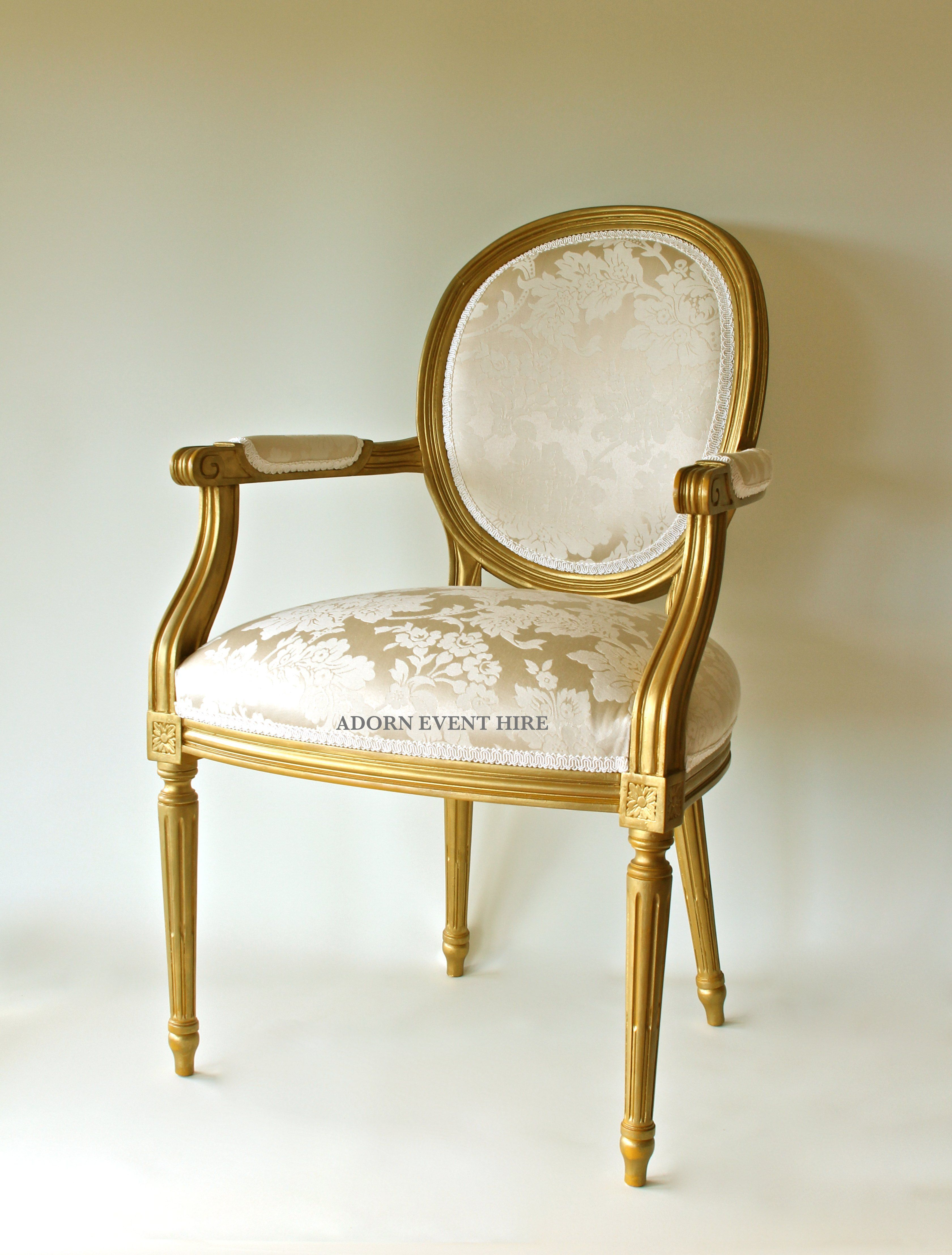 Gold And Ivory Oval Back Chair