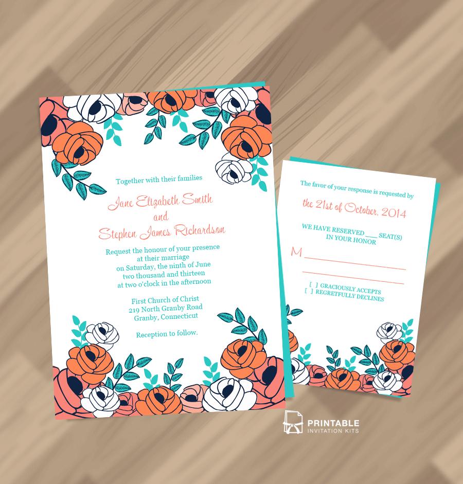 Print Wedding Invitations At Home: FREE PDF Download. Summer Garden Border Invitation And