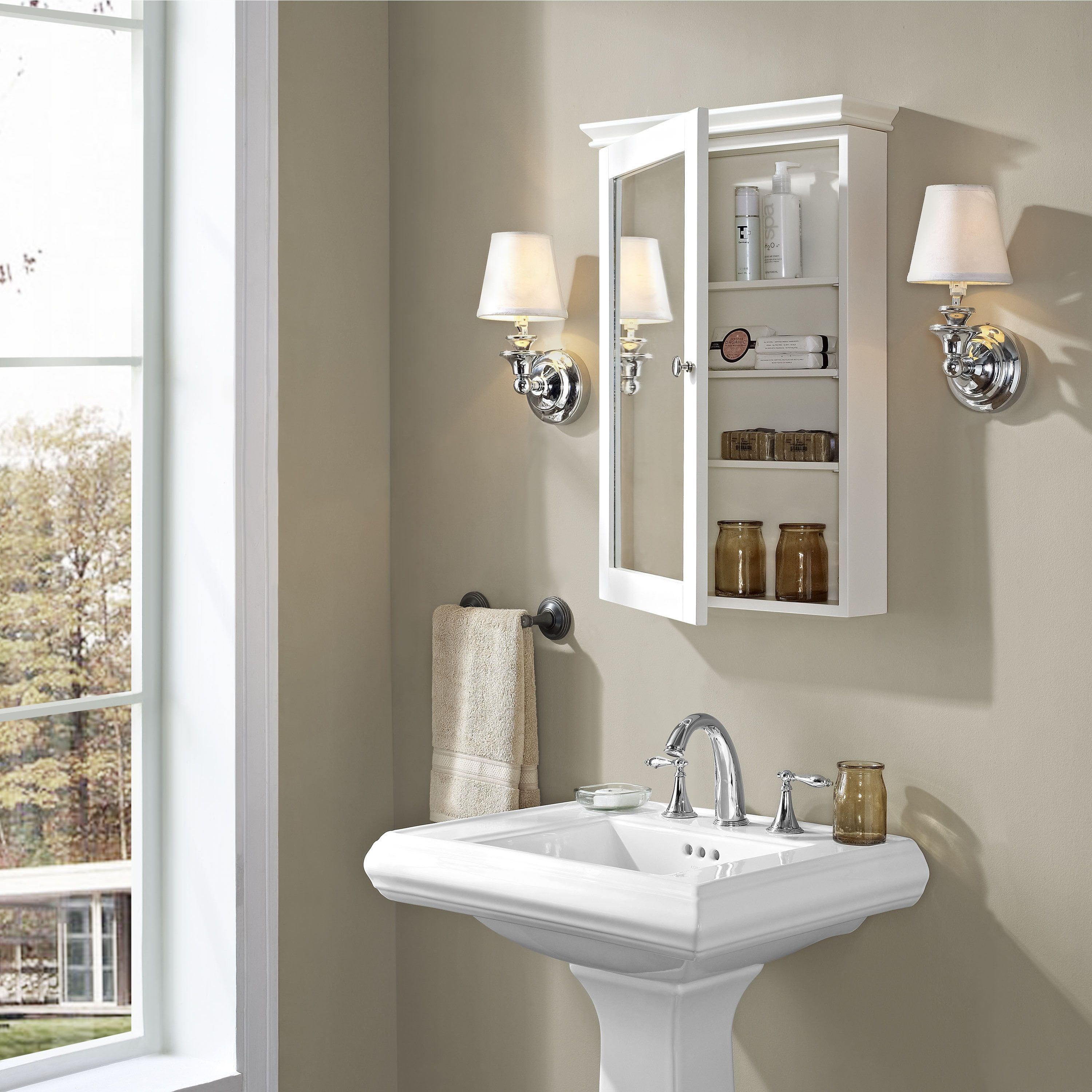 Crosley Furniture Lydia White Mirrored Wall Cabinet In Wood