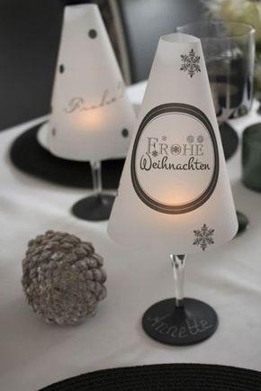 diy tischl mpchen aus einem weinglas f r die weihnachtstafel weingl ser tischlampe und. Black Bedroom Furniture Sets. Home Design Ideas