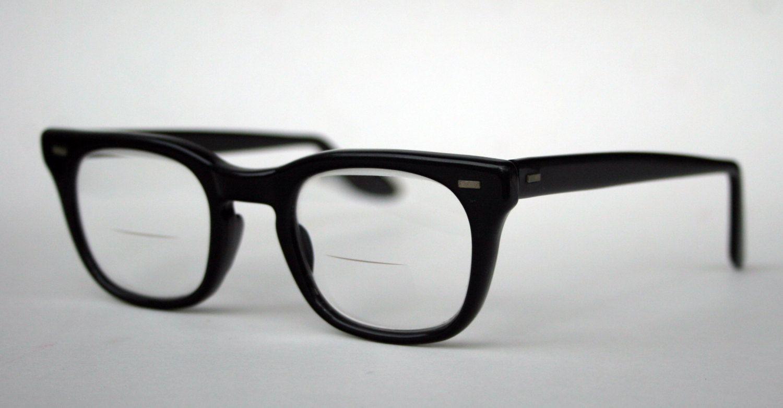 4b3e21e11f7 Authentic Vintage USA Military 1950s Army Issue Classic Black Horn Rim  Birth Control Glasses Excellent Conditon