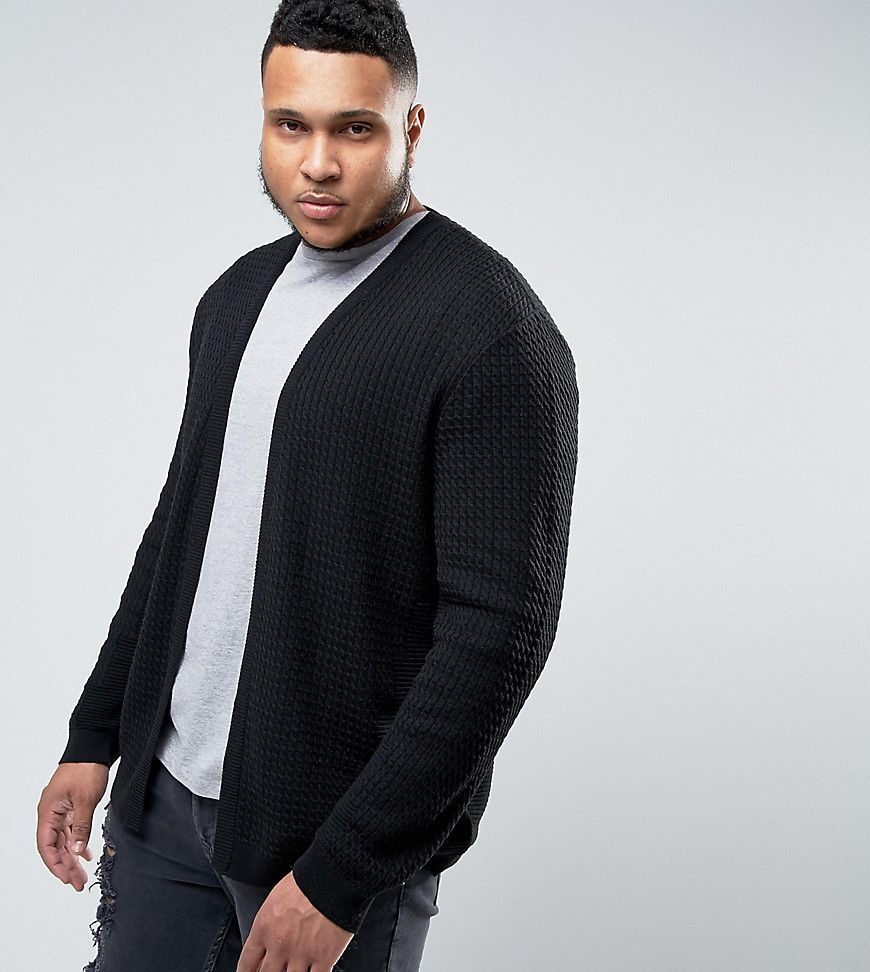 ASOS PLUS Longline Open Cardigan in Cable with Rib Detail - Black