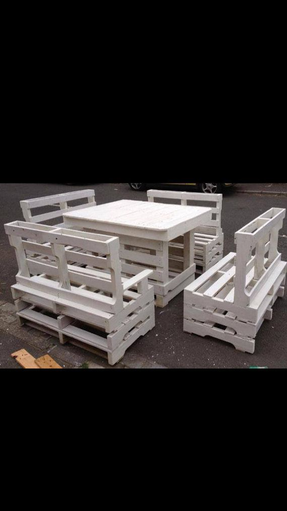 Garden Table And 4 Two Seater Benches Made By