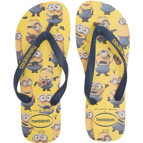 bdc010f3f13b21 HAVAIANAS Minions Yellow    Flip flops with print ( 32) ❤ liked on Polyvore  featuring shoes