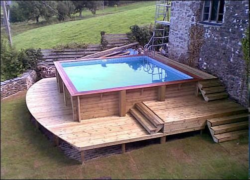 Swimming Pool, Simple Above Ground Pool Design In Backyard With Square  Shape And Simple Wooden