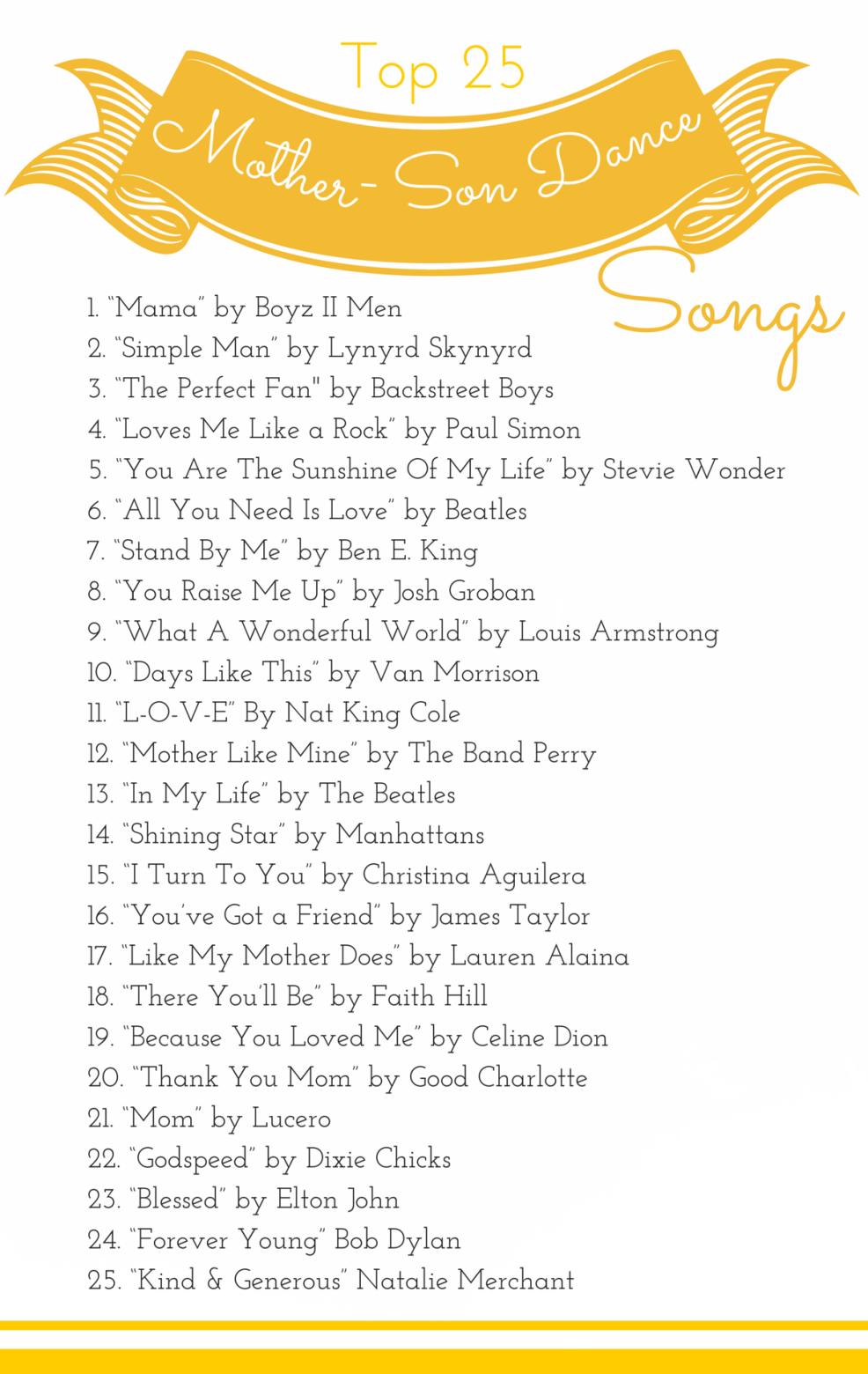 Mother Son Dance Songs Love Song Lyrics 60's in 2019