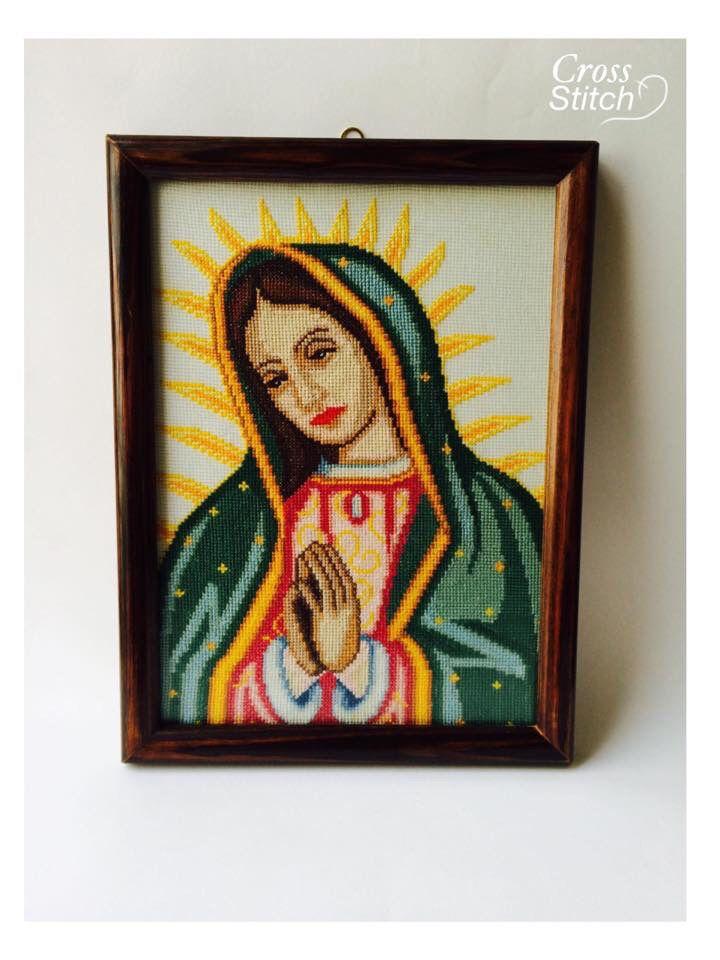 Virgen María elaborada en punto de Cruz, marco de madera con cristal ...